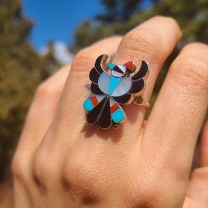 Zuni thunderbird inlay ring